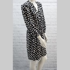 Kate Spade Black White Flower V Neck Dress size M